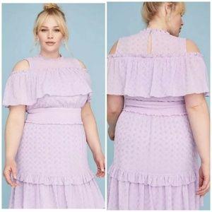 Lane Bryant Lilac Eyelet Lace Ruffle Trim Dress